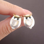 Barn Owl Bird Shaped Stud Earrings with Heart Shaped Details in Silver
