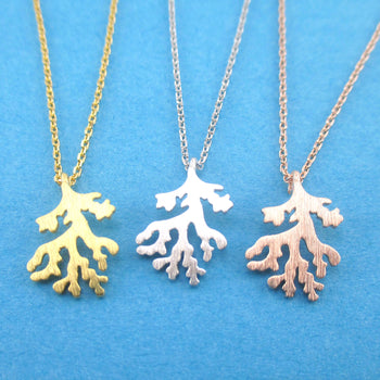 Barrier Reef Coral Silhouette Shaped Marine Life Pendant Necklace
