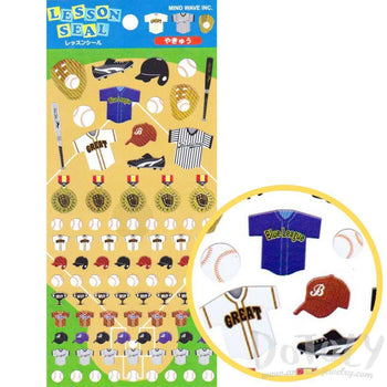Baseball Sports Themed Jerseys Bats and Balls Shaped Flat Stickers | DOTOLY