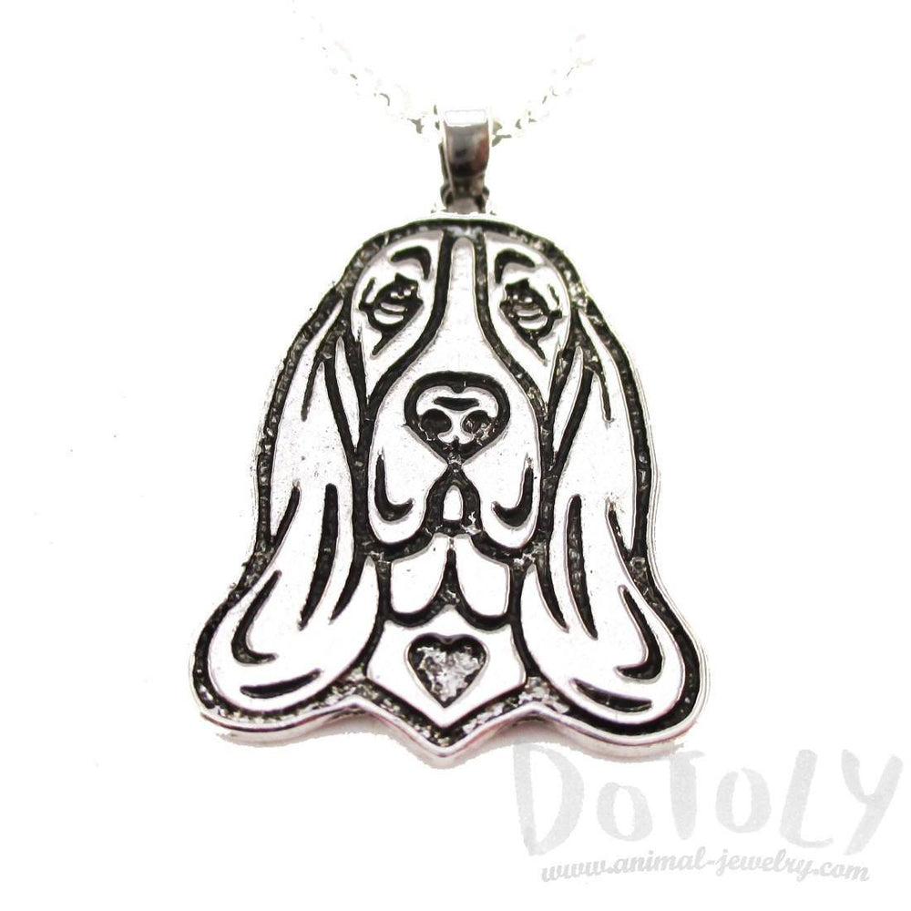 Basset Hound Dog Portrait Pendant Necklace in Silver | Animal Jewelry | DOTOLY
