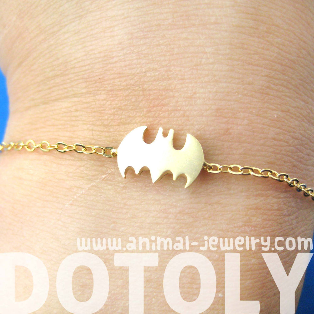 Bat Shaped Silhouette Symbol Batman Logo Charm Bracelet in Gold | DOTOLY | DOTOLY