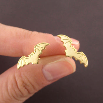 Bat With Spread Wings Silhouette Shaped Stud Earrings in Gold