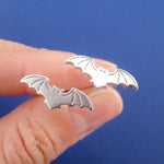 Bat With Spread Wings Silhouette Shaped Stud Earrings in Silver