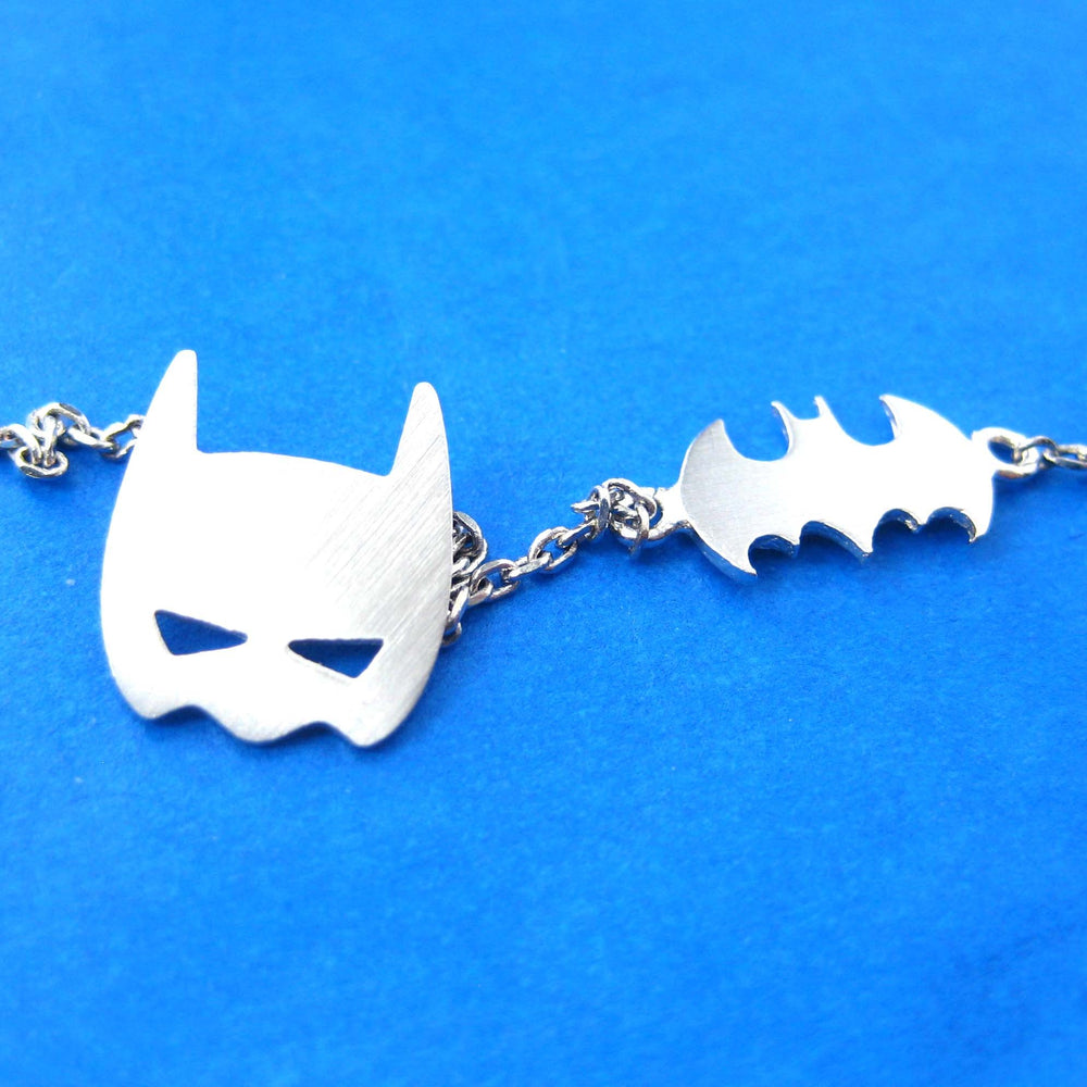 Batman Bat Logo Silhouette and Mask Charm Necklace in Silver | DOTOLY