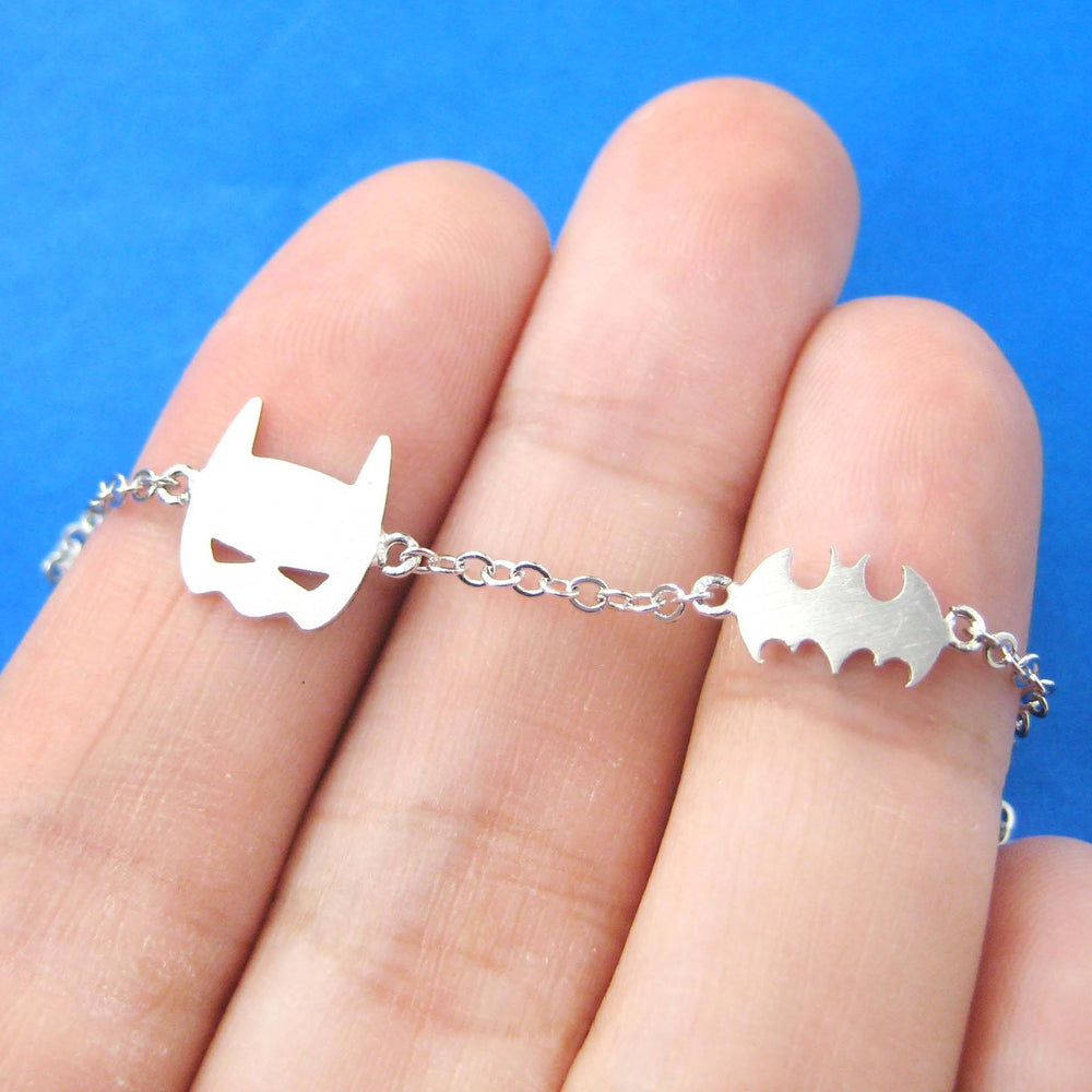 Batman Bat Logo Silhouette and Mask Charm Bracelet in Silver | DOTOLY | DOTOLY