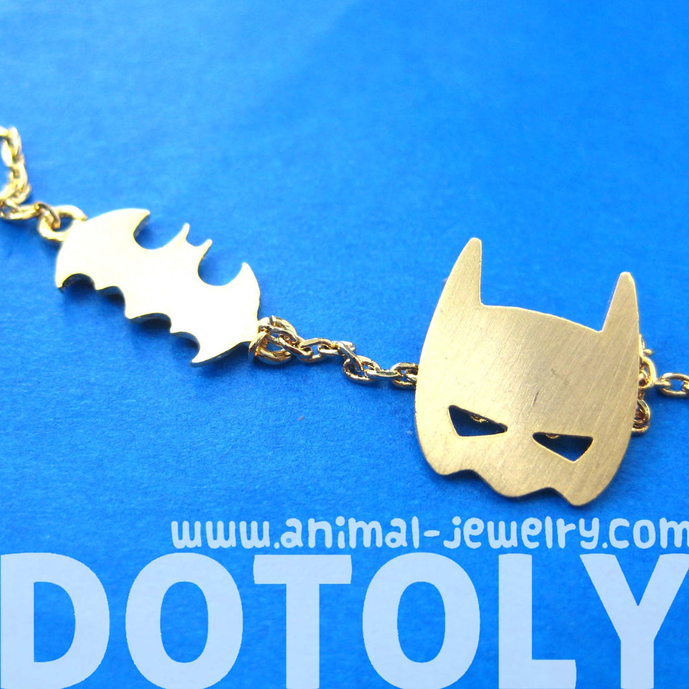 Batman Bat Logo Silhouette and Mask Charm Necklace in Gold | DOTOLY