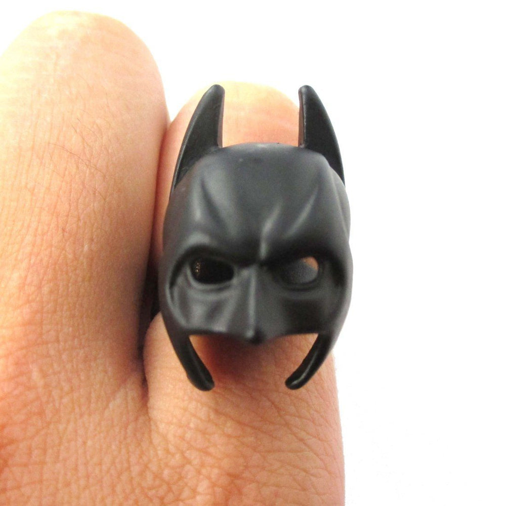 Batman Bat Mask Shaped Adjustable Ring in Black | DC Super Heroes | DOTOLY
