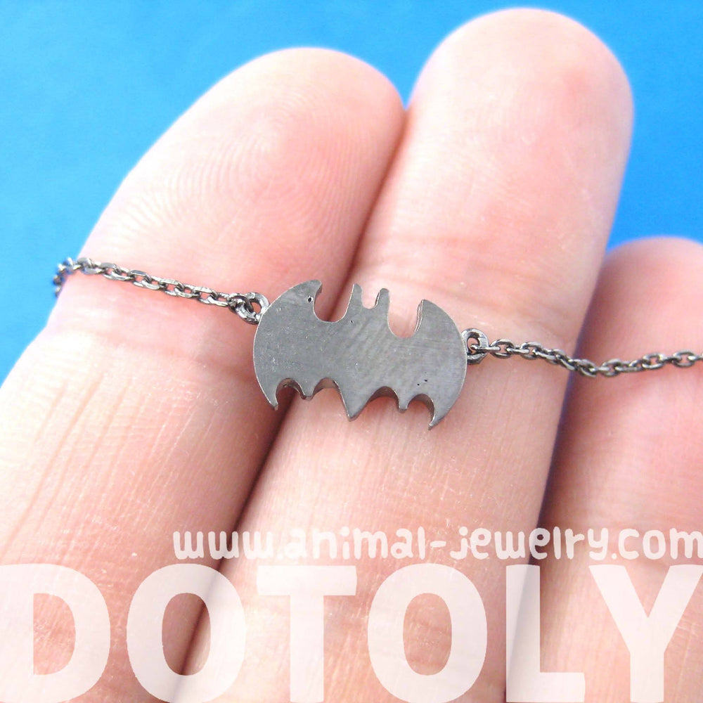 Batman Logo Bat Shaped Silhouette Symbol Charm Necklace in Dark Silver | DOTOLY