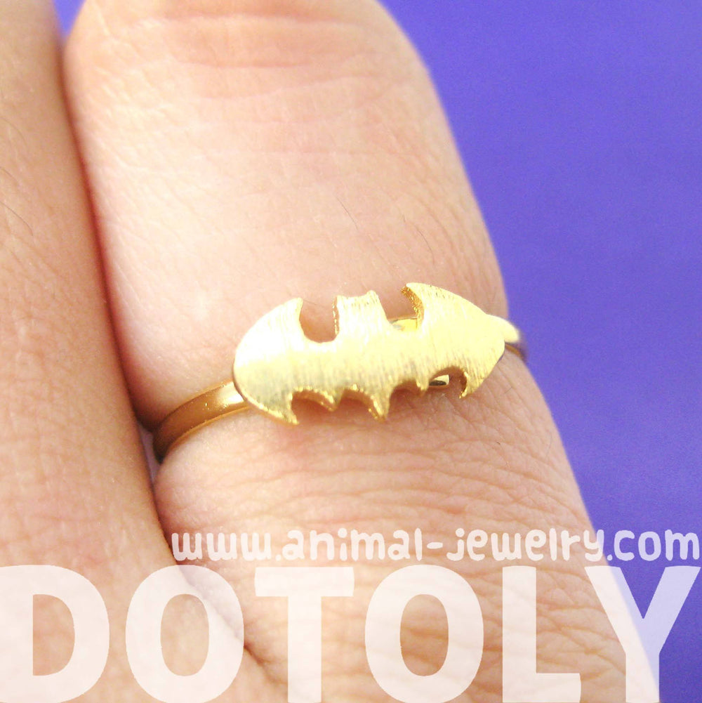 Batman Logo Bat Shaped Symbol Silhouette Adjustable Ring in Gold | DOTOLY