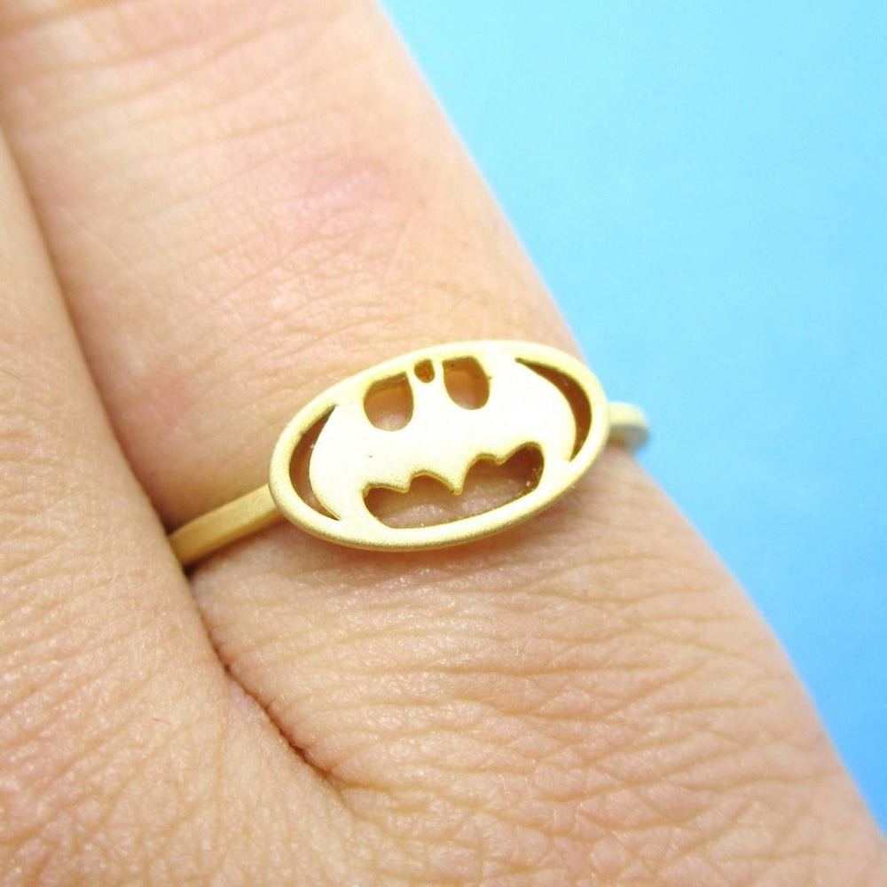 Batman Logo Bat Silhouette Shaped Adjustable Ring in Gold | DOTOLY