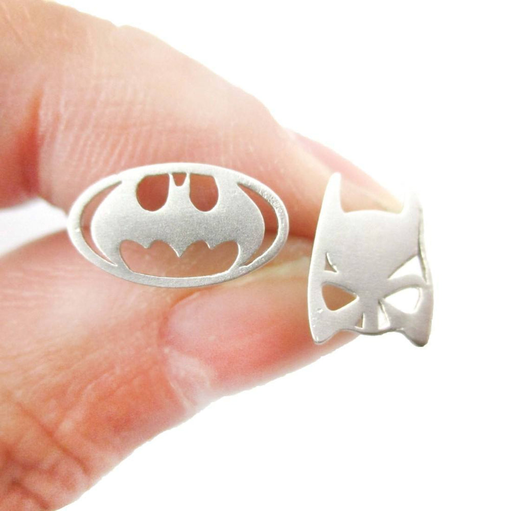 Batman Logo Symbol and Bat Mask Shaped Stud Earrings in Silver | Allergy Free | DOTOLY