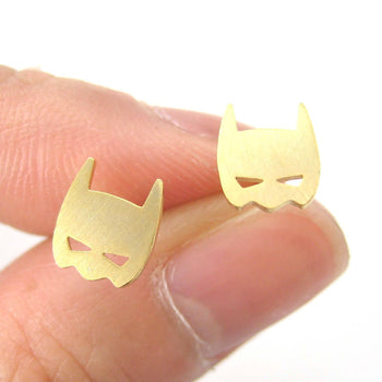 Batman Symbol Mask Shaped Stud Earrings in Gold | Allergy Free | DOTOLY