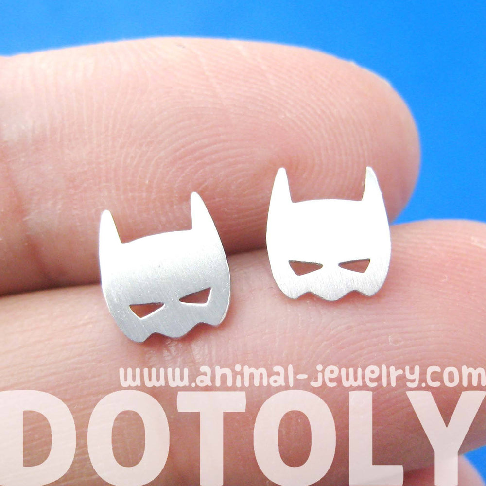 Batman Symbol Mask Shaped Stud Earrings in Silver | Allergy Free | DOTOLY