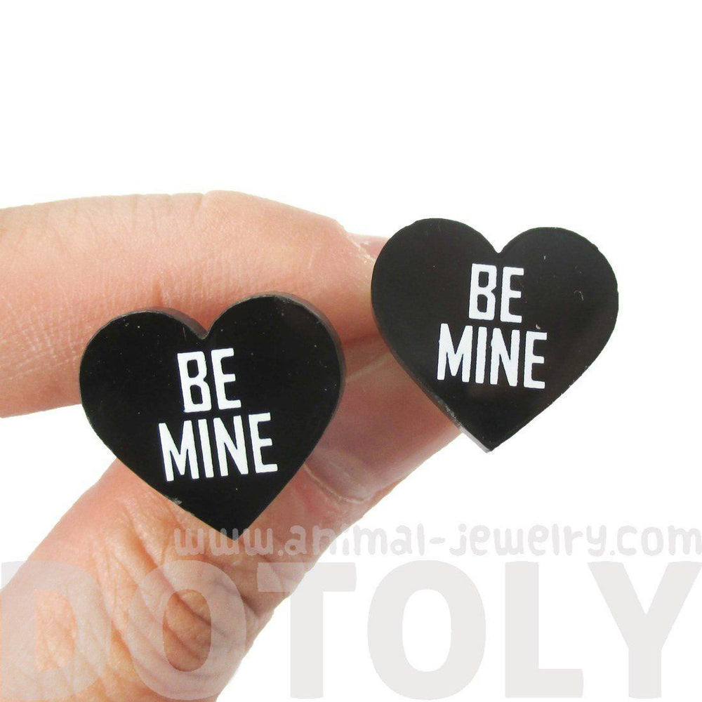 Be Mine Candy Heart Sweethearts Shaped Laser Cut Stud Earrings in Black | DOTOLY