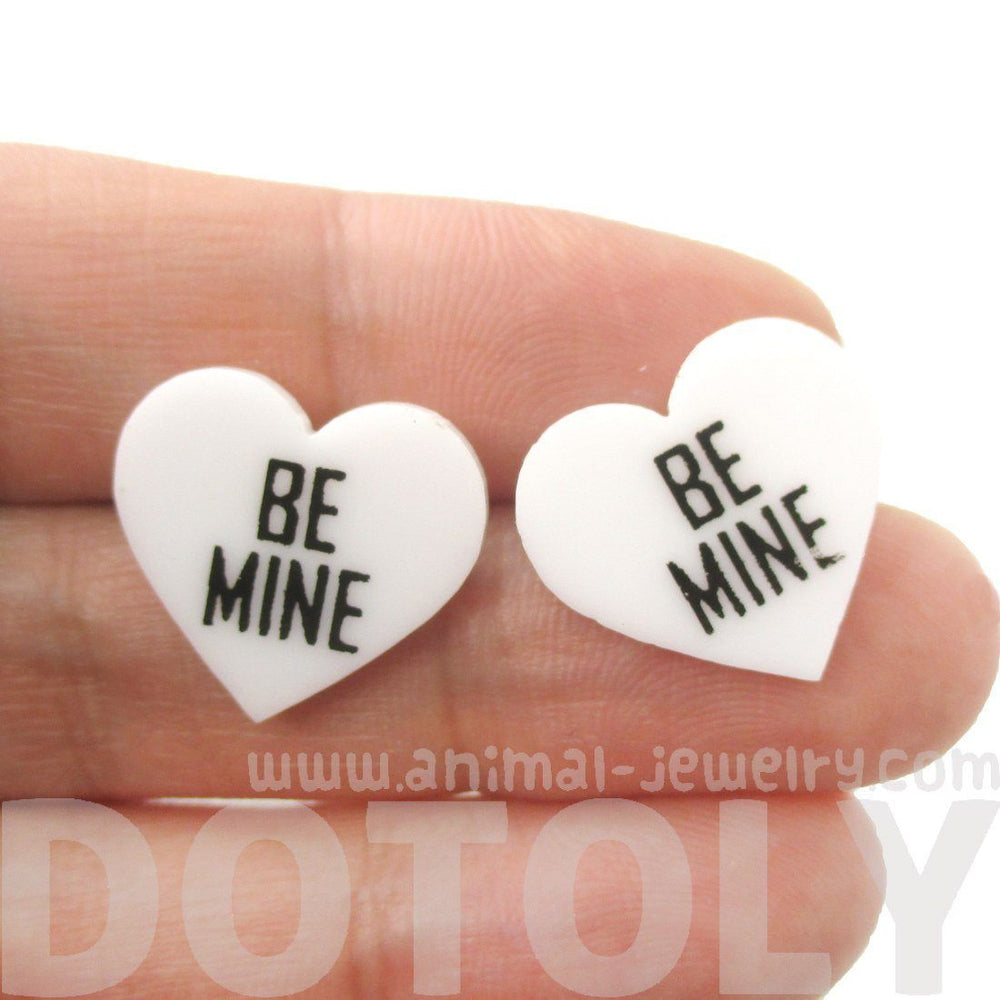 Be Mine Candy Heart Sweethearts Shaped Laser Cut Stud Earrings in White | DOTOLY