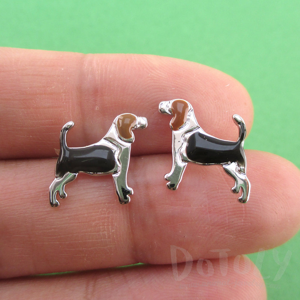 Beagle Dog Shaped Stud Earrings for Dog Lovers in Silver | DOTOLY