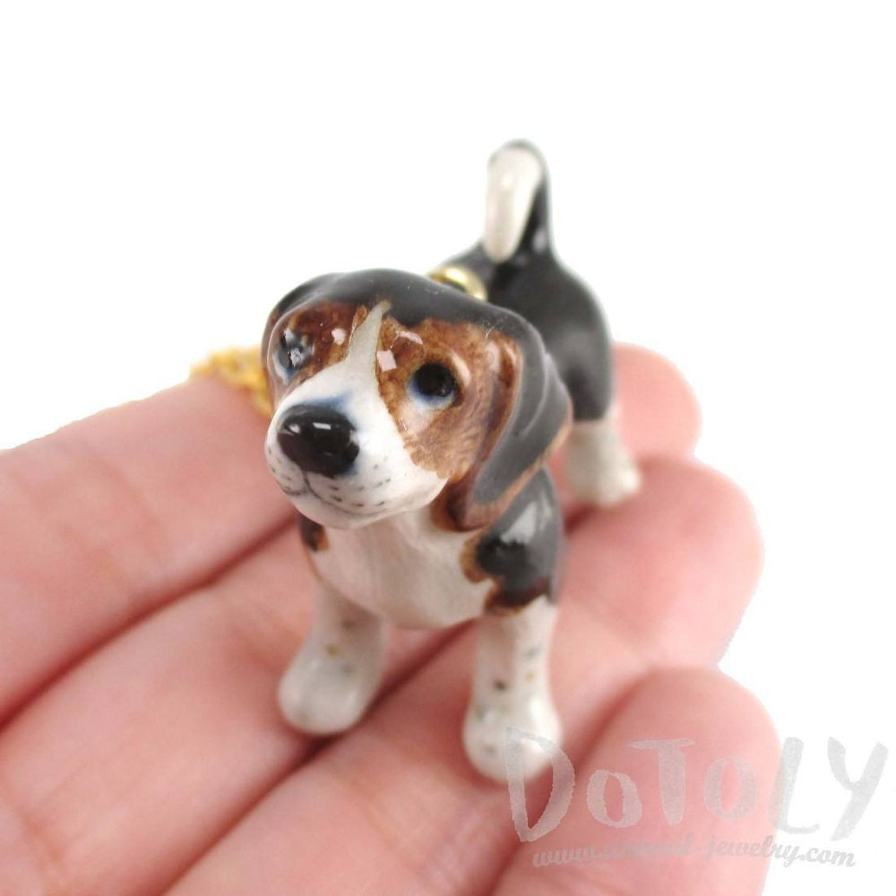 Beagle Puppy Dog Porcelain Hand Painted Ceramic Animal Pendant Necklace | Handmade | DOTOLY