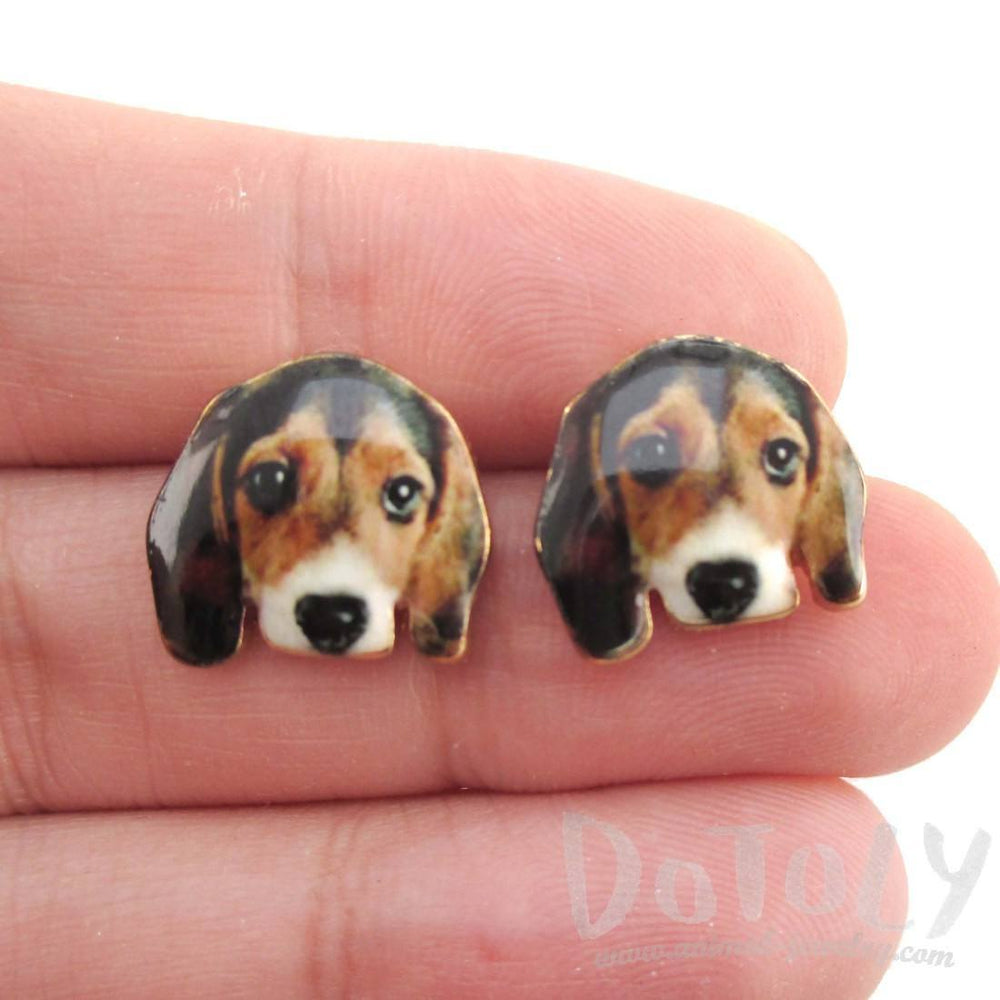 Beagle Puppy Face Portrait Shaped Stud Earrings | Animal Jewelry for Dog Lovers | DOTOLY