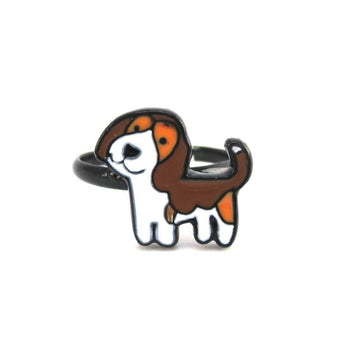 Beagle Puppy Shaped Enamel Adjustable Ring for Dog Lovers | DOTOLY