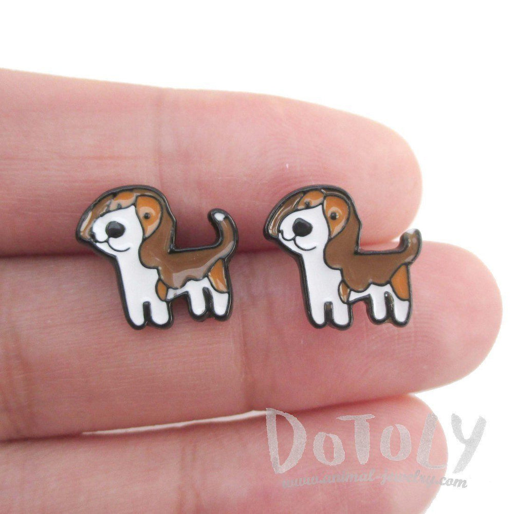 Beagle Puppy Shaped Enamel Stud Earrings for Dog Lovers | DOTOLY