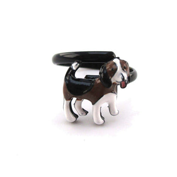 Beagle Puppy Shaped Pets Inspired Adjustable Ring | Animal Jewelry