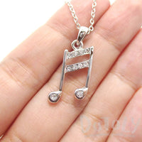 Beamed Quaver Note Shaped Rhinestone Pendant Necklace in Silver | Music Themed Jewelry | DOTOLY