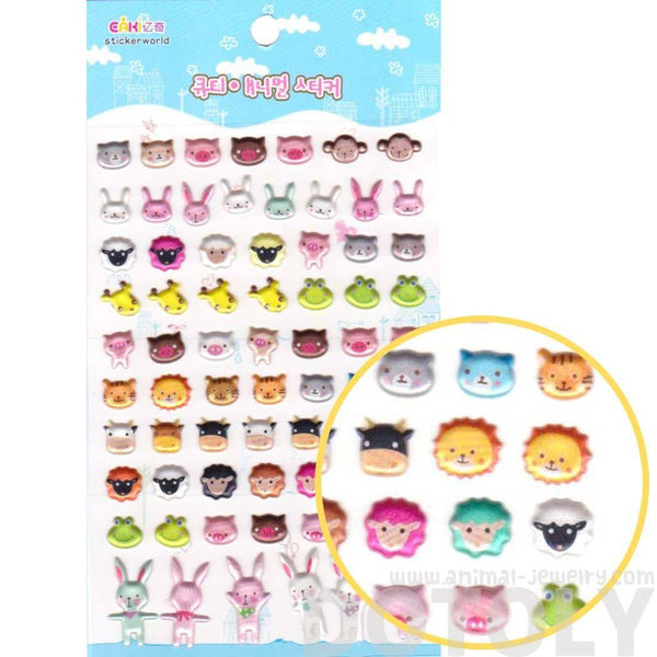Bear Bunny Sheep Giraffe Pig Lion Animal Face Shaped Jelly Stickers for Scrapbooking | DOTOLY
