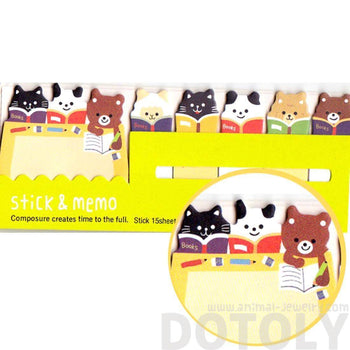 Bear Sheep and Kitty Cat Shaped Animal Memo Pad Post-it Index Sticky Tab Bookmarks | DOTOLY