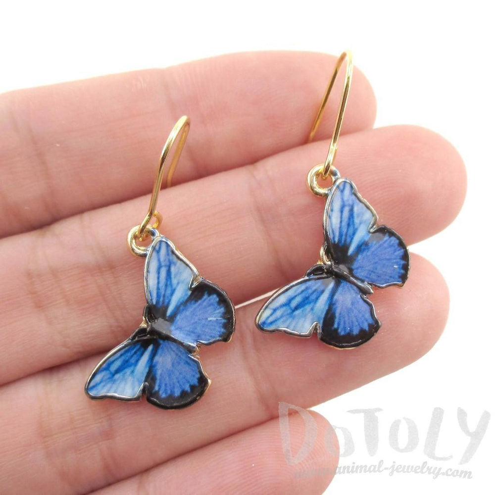 Beautiful Blue Morpho Butterfly Shaped Dangle Earrings | DOTOLY | DOTOLY