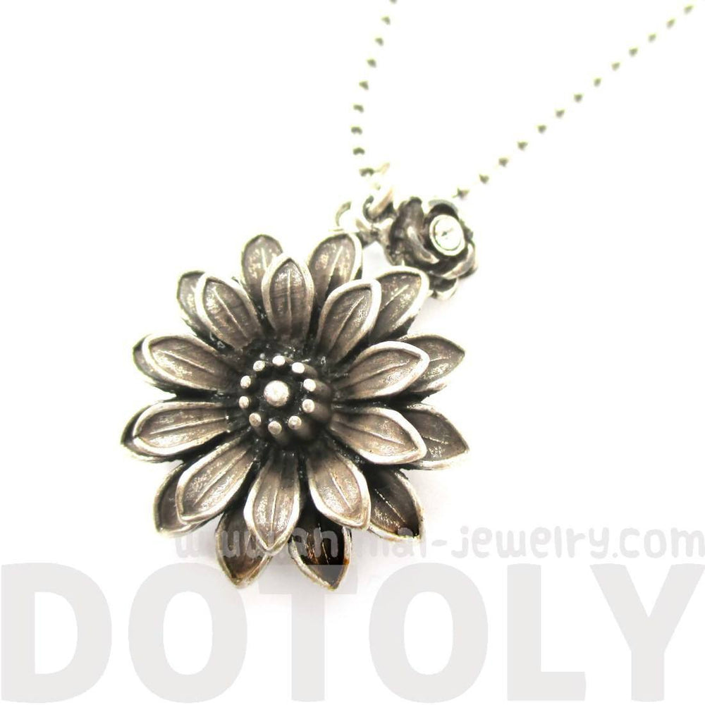 Beautiful Classic Dahlia Flower Floral Pendant Necklace in Silver | DOTOLY | DOTOLY