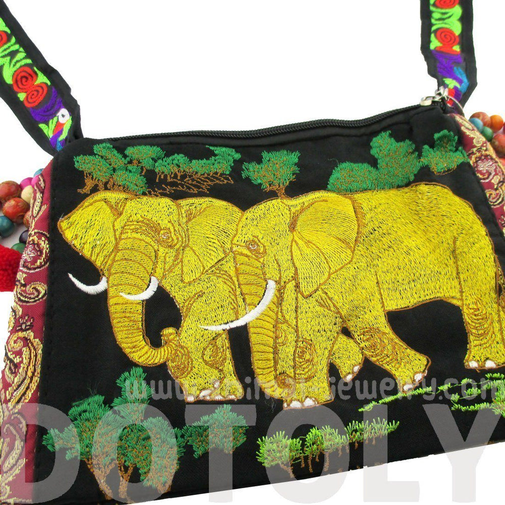 Beautiful Embroidered Elephant Family Animal Themed Cross Body Bag in Gold | Handmade | DOTOLY
