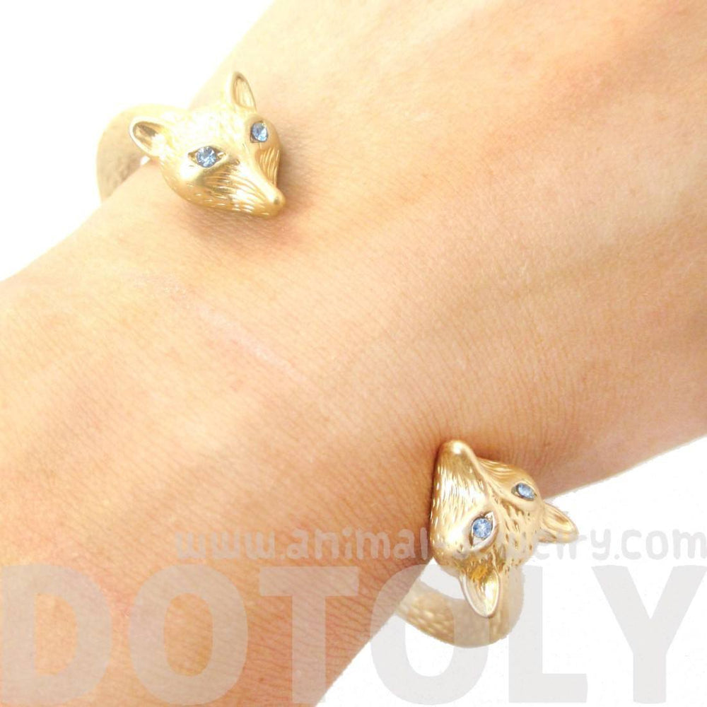 Beautiful Fox Head Shaped Wrap Around Bangle Bracelet Cuff in Gold | Animal Jewelry | DOTOLY