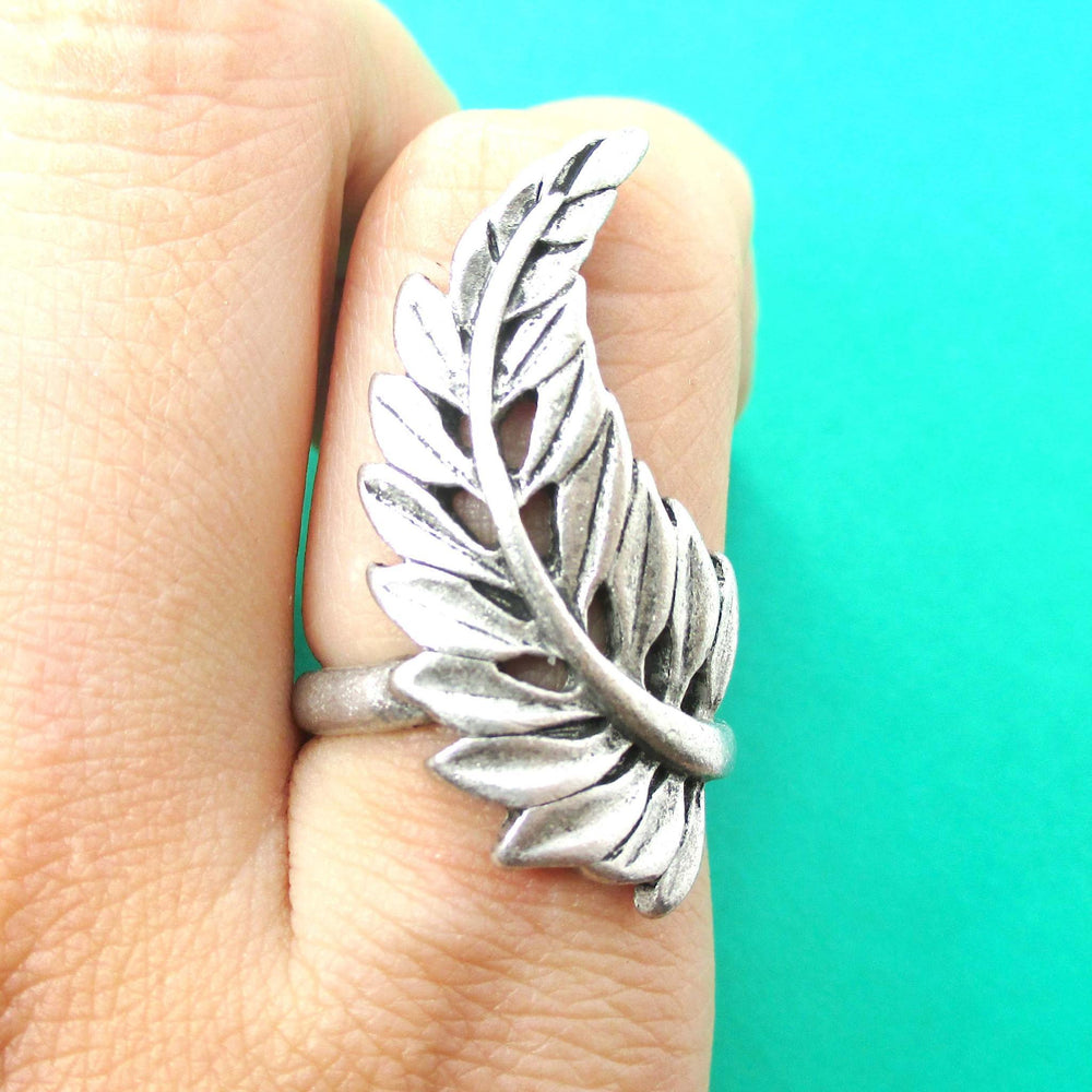 Beautiful Leaf Wrapped Around Your Finger Shaped Floral Ring in Silver | DOTOLY | DOTOLY