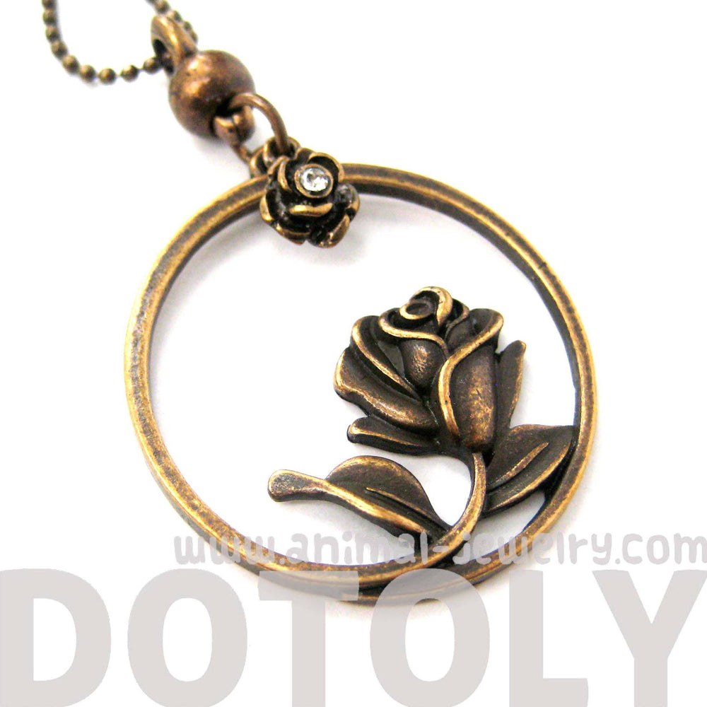 Beauty and the Beast Inspired Rose Shaped Pendant Necklace in Bronze | DOTOLY