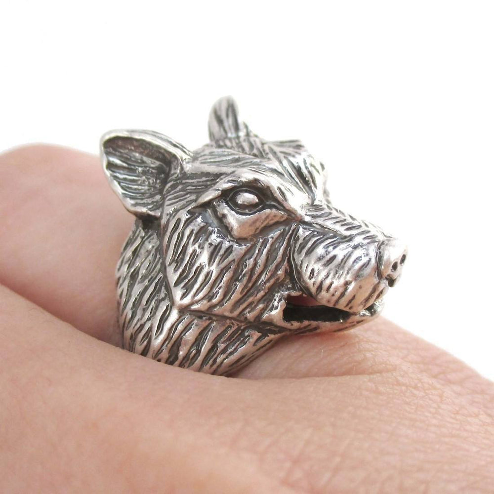Big Bad Wolf Shaped Unisex Animal Spirit Ring in Silver | Animal Rings