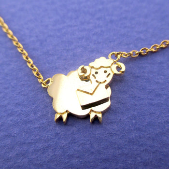 Bighorn Sheep Ram Love Letter Shaped Pendant Necklace in Gold | DOTOLY