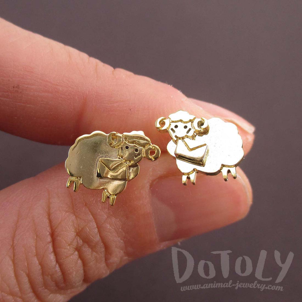 Bighorn Sheep Ram with A Letter Shaped Stud Earrings in Gold | DOTOLY