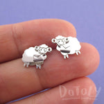 Bighorn Sheep Ram with Letter Shaped Stud Earrings in Silver | DOTOLY
