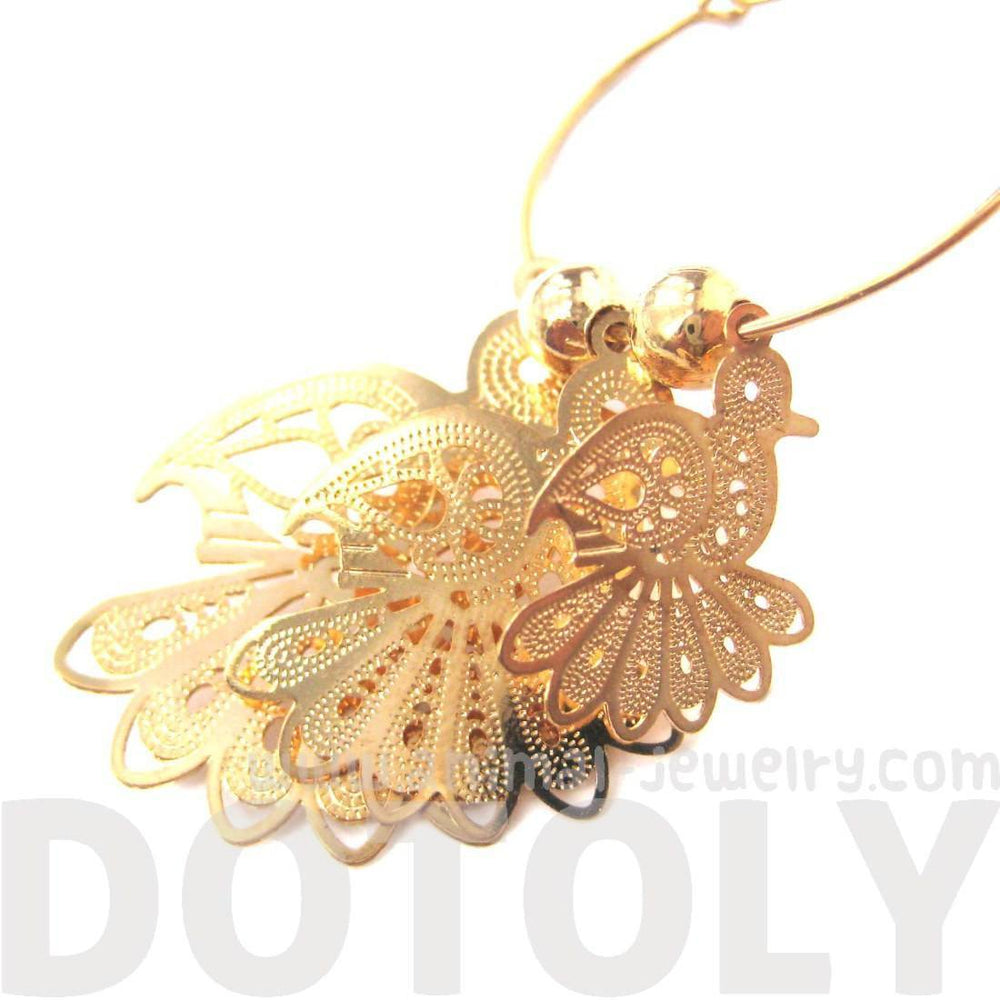Bird Cut Out Shaped Decorative Dangle Hoop Earrings in Gold | Animal Jewelry | DOTOLY