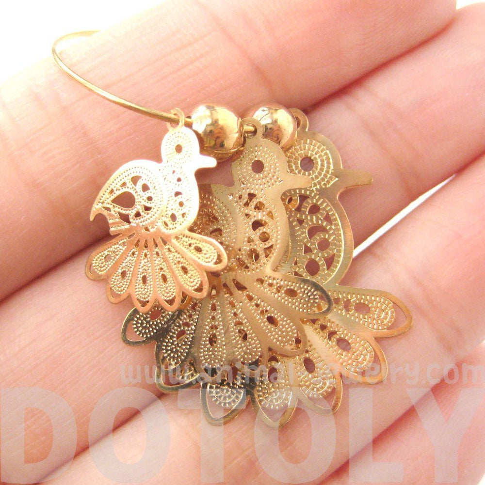 bird cut out shaped decorative dangle hoop earrings in gold dotoly