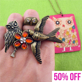 Bird Themed Rings and Hand Drawn Owl Pendant Necklace 4 Piece Set