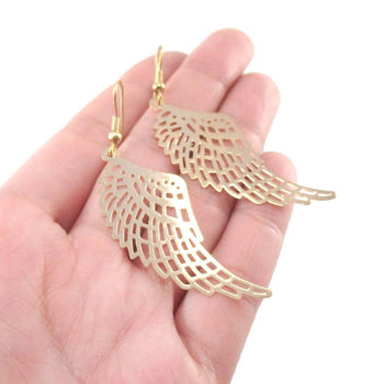 Bird Wings Feather Shaped Dangle Earrings in Gold | DOTOLY | DOTOLY