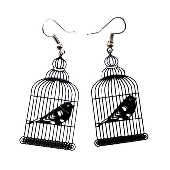 Birdcage Shaped Cut Out Filigree Dangle Drop Earrings in Black | Animal Jewelry | DOTOLY