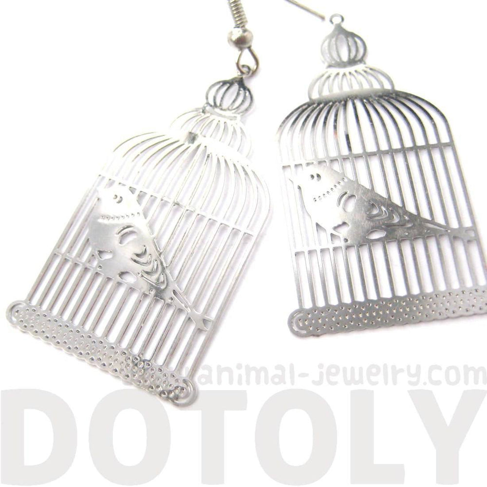 Birdcage Shaped Cut Out Filigree Dangle Drop Earrings in Silver | Animal Jewelry | DOTOLY