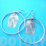 Birdcage Shaped Dye Cut Filigree Dangle Hoop Earrings in Silver | Animal Jewelry | DOTOLY