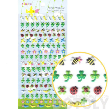 Birds Doves Bees Ladybugs and Four Leaf Clovers Shaped Puffy Stickers for Kids | DOTOLY