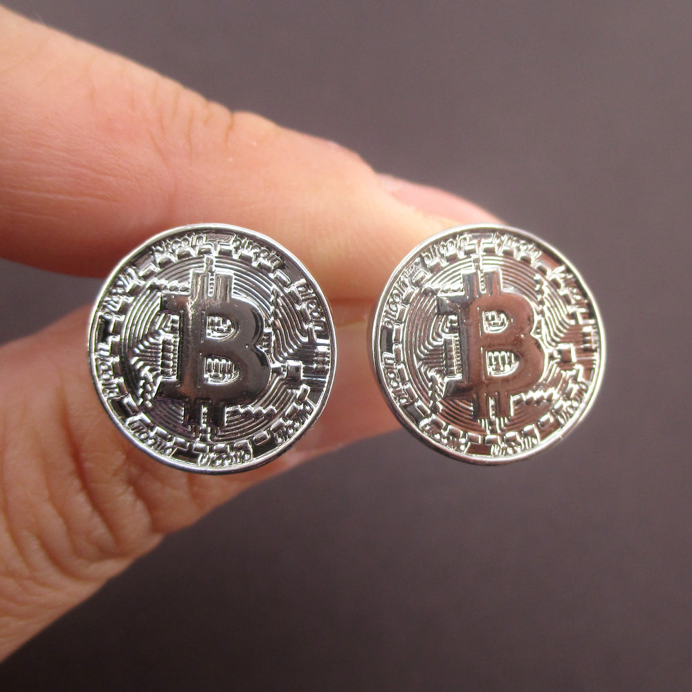 Bitcoin Shaped HODL Engraving Cryptocurrency Stud Earrings