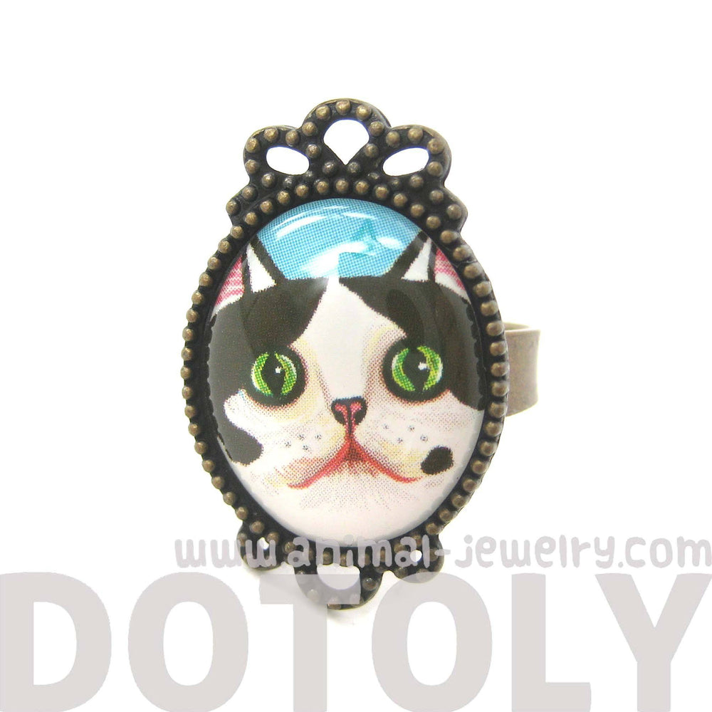 Black and White Bicolor Kitty Cat Illustrated Adjustable Ring | Animal Jewelry | DOTOLY