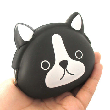 Black and White French Bulldog Puppy Dog Shaped Animal Friends Silicone Clasp Coin Purse Pouch | DOTOLY