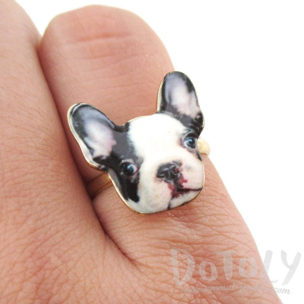 Black and White French Bulldog Puppy Shaped Adjustable Ring | Animal Jewelry | DOTOLY